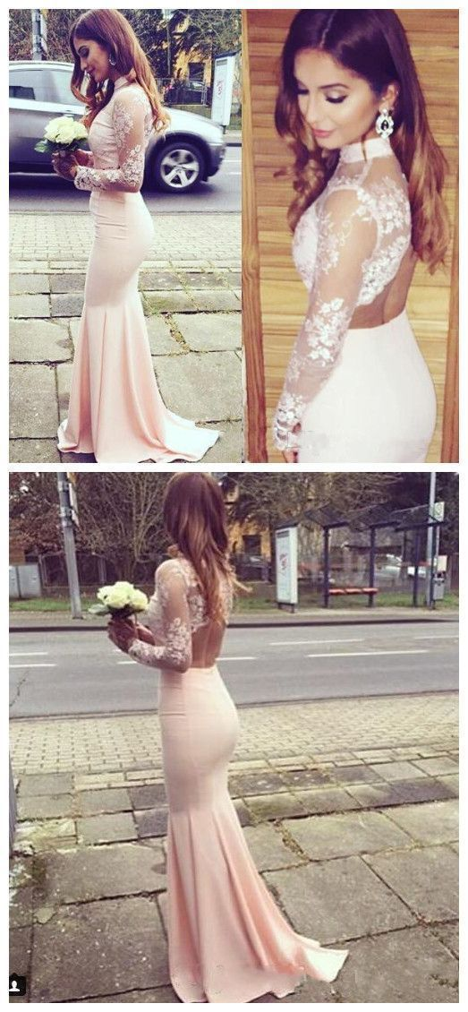 Neck Lace Pink Prom Dress,Long Blush Pink Backless Prom Dresses