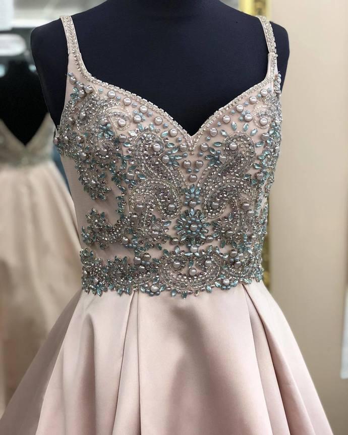 Beads prom dress Straps Pink party dress Long Prom Dress Evening Dress T4637