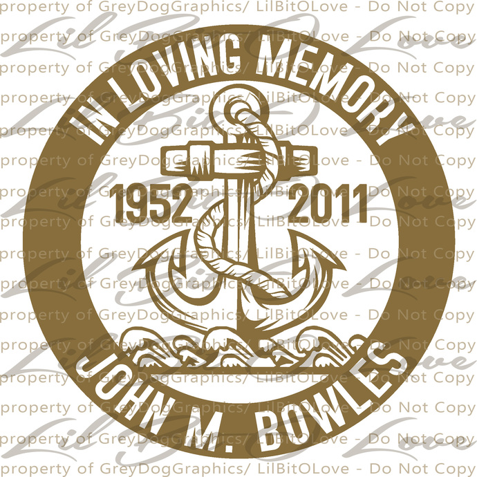 Custom In Memory with Anchor and Waves Vinyl Decal Sticker - Personalize with