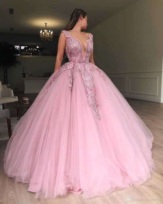 Pink Lace wedding dress Appliqued bridal dress Jewel Neck Tulle Ball Gown Prom