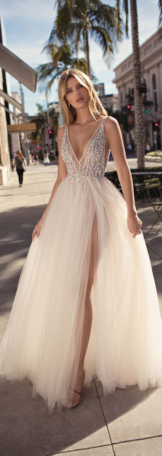 white party dress tulle Long Evening Prom Dresses, a deep v neck formal dress