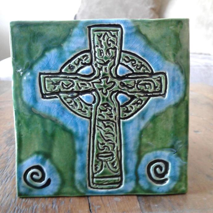 "Celtic Cross Ceramic Tile Turquoise Green  Decorative Irish Celtic Wall Decor 4"""