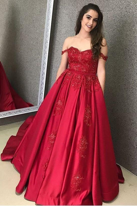 Satin prom dress Red Evening Gown with Beaded Lace Bodice off should party dress