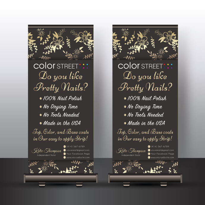 """Personalized Color Street Banner Stand, Color Street Banners X Style - 24"""" x"""