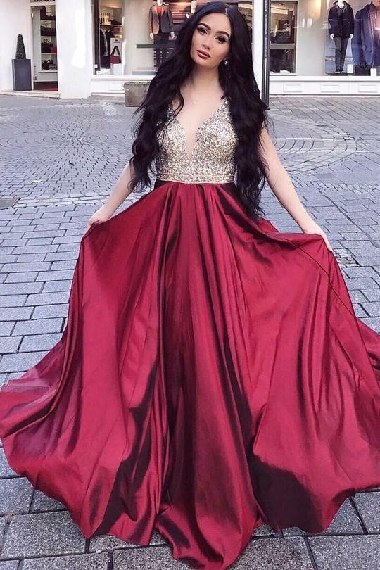 Rhinestones evening dress V-neckline Long Prom Gown Burgundy party dress T4647