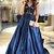Lace V-neckline party dress Navy Blue Evening Dress Satin prom dress T4648