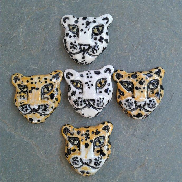 Set 5 Leopard Cabochons Fine Porcelain Jaguar Cat Pendants Feline Snow Leopard