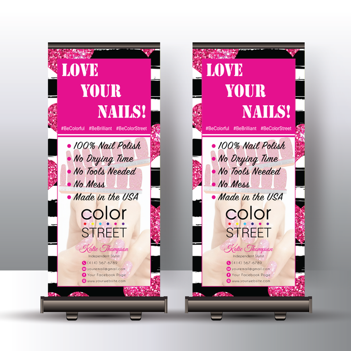 Color Street Stylist Banner, Personalized Color Street Banner Stand, Color