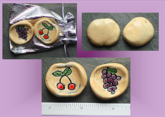 Set 2 Worry Stones Fruit Anxiety Relief Ceramic Pocket Palm Pebbles Fruit Cherry