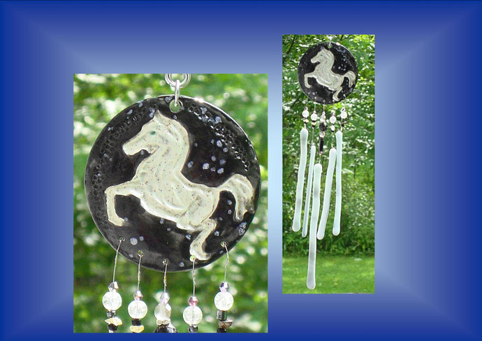 White Horse Wind Chime Ceramic Pony Mobile Suncatcher Equestrian Art