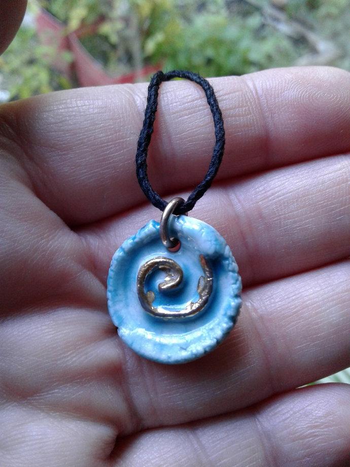 Spiral Necklace Turquoise Porcelain Gold Lustre Ceramic Pendant