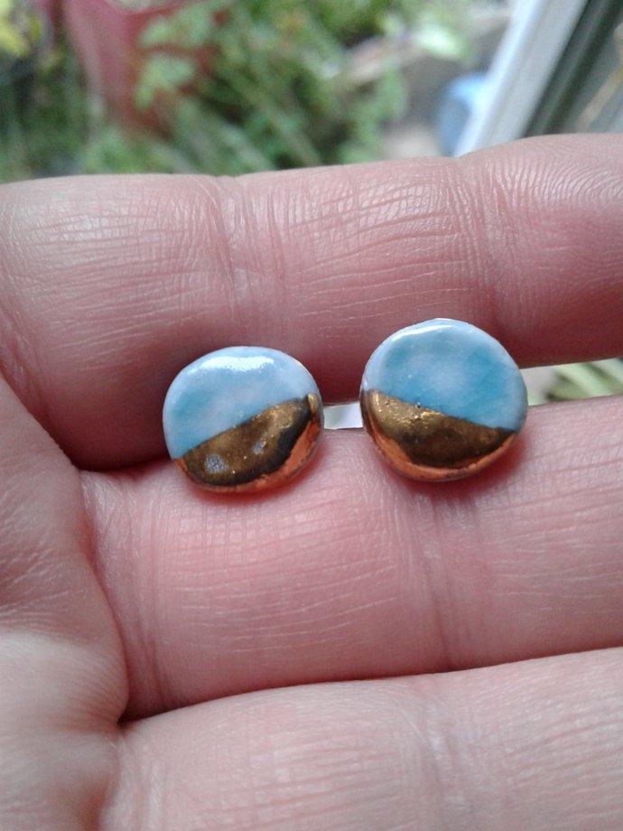 Porcelain Earrings Mini Turquoise with Gold Lustre Minimalist Ceramic Post