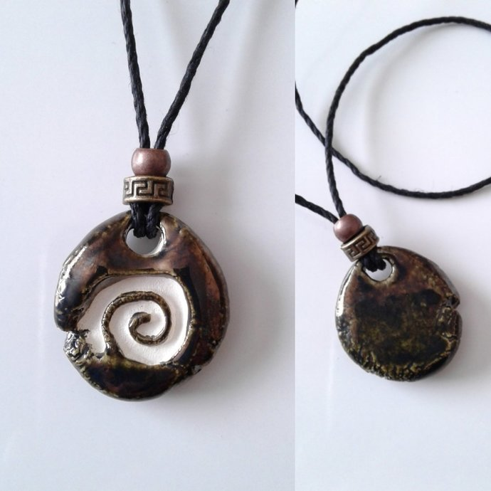 Spiral Aromatherapy Necklace Burnished Gold Ceramic Essential Oil Diffuser