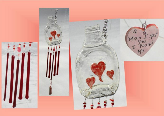 Love Wind Chime Red Heart Bottle Fused Glass Garden Ornament