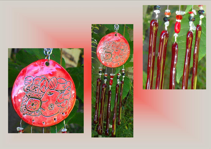Glass Wind Chime Mayan King Red Ceramic Mobile Garden Decor