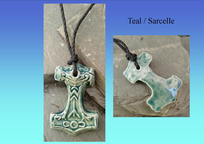 Thor's Hammer Necklaces Viking Pendants Blue Teal Cobalt Turquoise Red Ceramic
