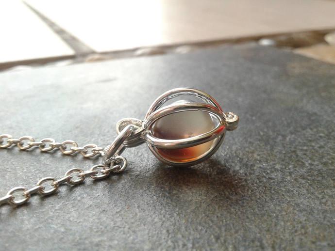 Sea Glass Locket necklace Boho Beach Pendant Silver Brown