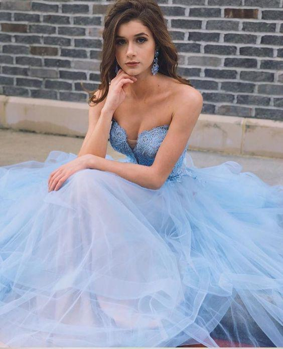 Sky Blue Tulle evening dress Long Sweetheart A line party dress Lace Top Prom