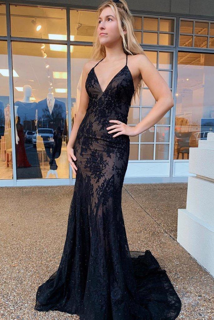 Mermaid Lace Spaghetti Straps Prom Dress, Long Navy Formal Evening Dresses T4652