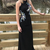 Mermaid prom dress Jewel Sweep Train Open Back Black Prom Dress with Appliques