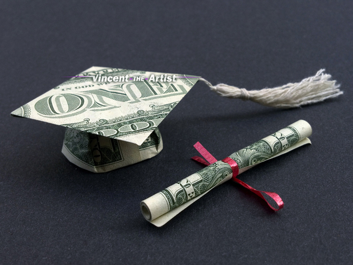 Graduation Cap and Scroll Money Origami Art Dollar Bill Mortar Board Cash