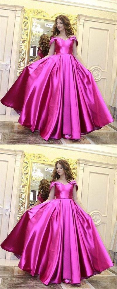 Charming Off the Shoulder Evening Dress, Simple Satin Formal Prom Dress, Women