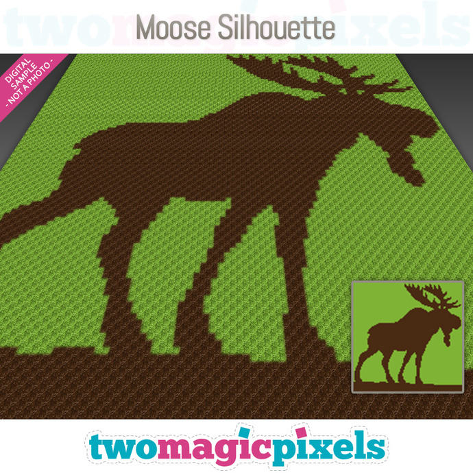 Moose Silhouette crochet graph (C2C, Mini C2C, SC, HDC, DC, TSS), cross stitch;
