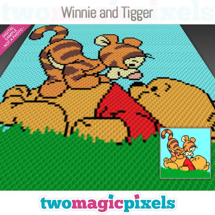 Winnie and Tigger crochet graph (C2C, Mini C2C, SC, HDC, DC, TSS), cross stitch;
