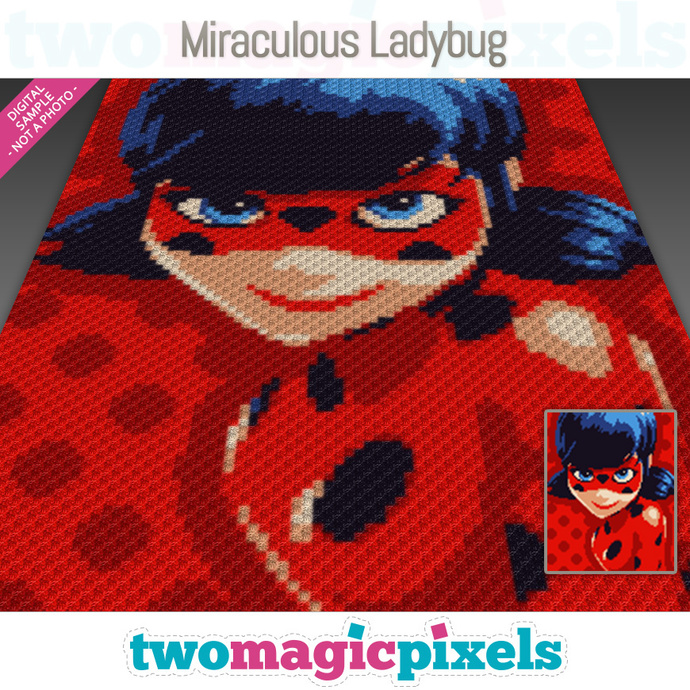 Miraculous Ladybug crochet graph (C2C, Mini C2C, SC, HDC, DC, TSS), cross