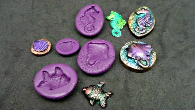 4 Beach or Marine themed mini molds no5 - flexible silicone - Fish, Seahorse,