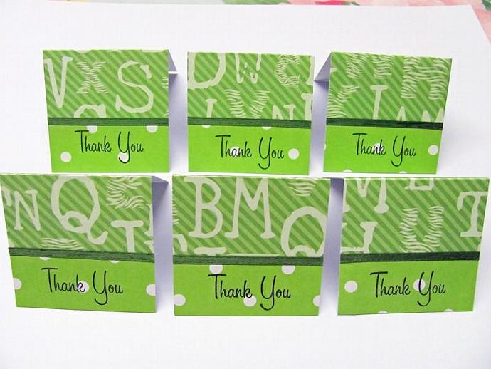 Green Animal Safari Mini Thank You Cards 2x2 (6cards)