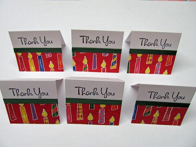 Thank You Mini Birthday Cards 2x2 (6 cards)
