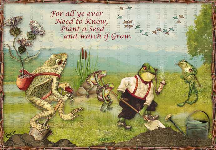 Frogs Gardening Digital Collage Greeting Card2313