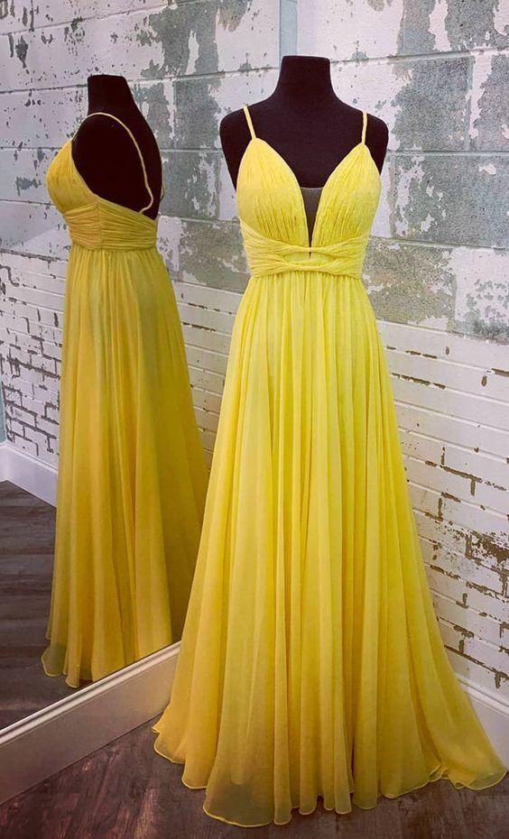 Elegant Straps Yellow Chiffon Long Formal Dress