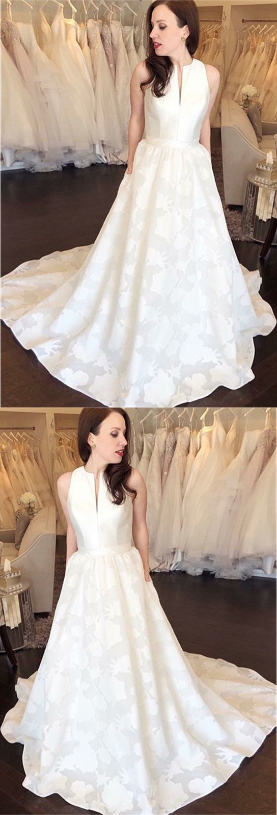 A-Line Round Neck Sweep Train Printed Satin Wedding Dress with Pockets