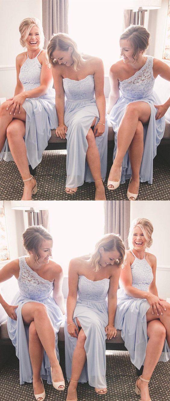 A Line Halite Floor Length Light Sky Blue Bridesmaid Dress