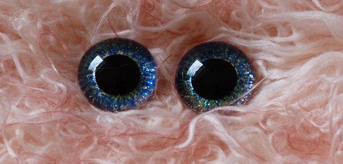 20mm German Glass Eyes,teddy bear,Deep Blue Sparkle,glass eyes, teddy bear eyes,