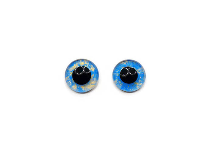 20mm German Glass Eyes,teddy bear,Sky blue and gold,glass eyes, teddy bear eyes,