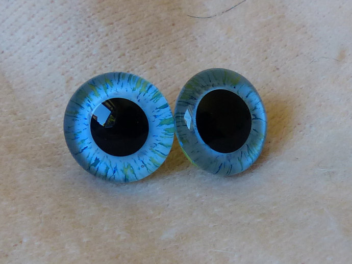18mm Glass Eyes,teddy bear,blue and green stripe ,glass eyes, teddy bear eyes,