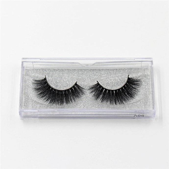 MINK EYELASHES Style A06 -  Slightly thinner Eyelashes, Black,10 mm -15 mm