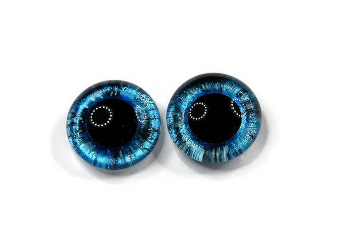 18mm German Glass Eyes,teddy bear,CHEQUER BLUE,eyes, teddy bear eyes, hand