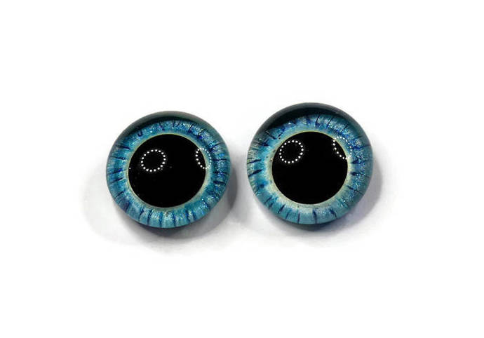 18mm German Glass Eyes,teddy bear,AQUA BLUE w STRIPING,eyes, teddy bear eyes,