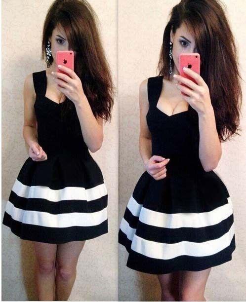 Sleeveless Pure Color A-line Short Dress