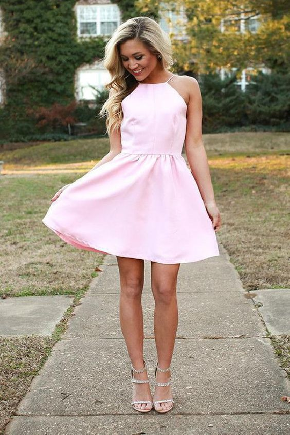 Spaghetti Strap Homecoming Dress, A Line Homecoming Dress