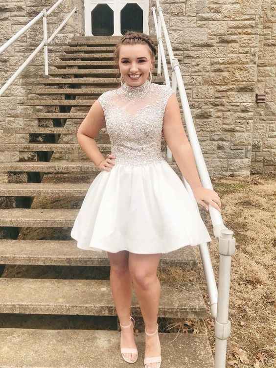 High Neck Short Homecoming Dresses See Through Beaded Homecoming Dress