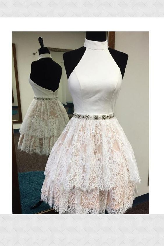 Custom Made Cute A-Line, White, High Neck, Lace