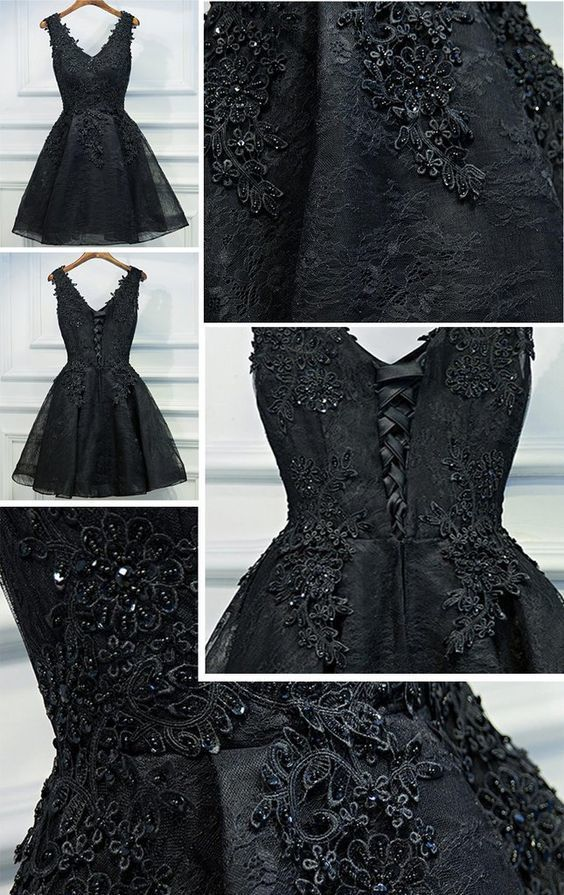 Black Lace Heavily Beaded Homecoming Prom Dresses, Short Party Prom Dresses,