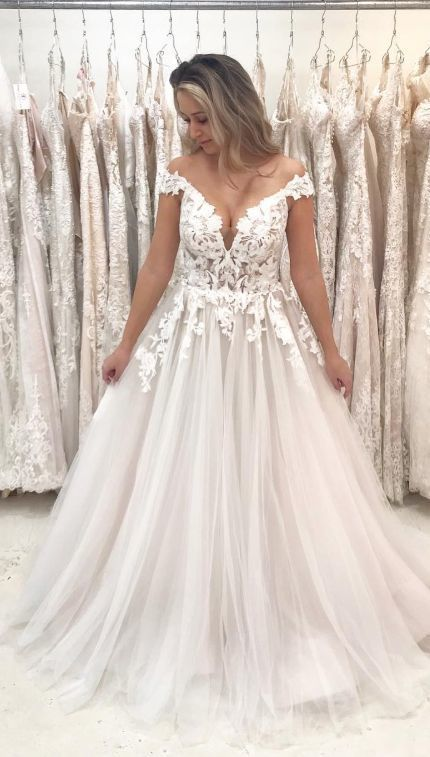 Romantic Off the Shoulder White Long Bridal Gown