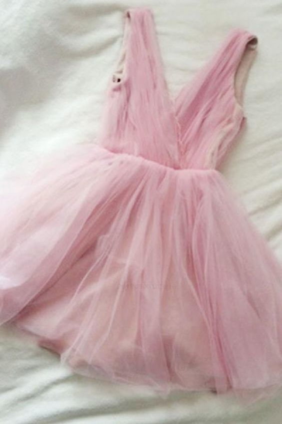 Custom Made Dazzling Pink, V Neck Party Dress
