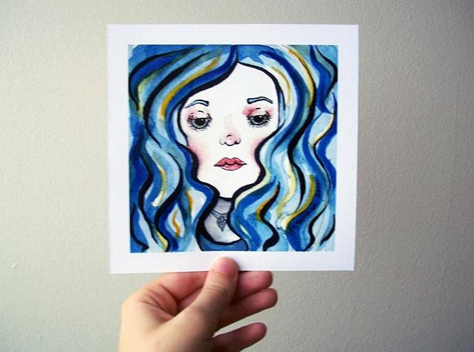 "Quirky Blue-Haired Beauty - 5"" x5"" Print"